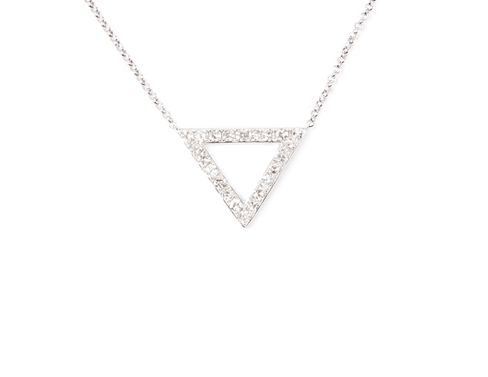 Diamond triangle pave necklace