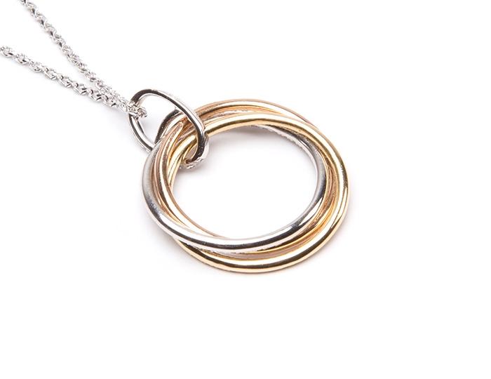 Tri gold circle pendant