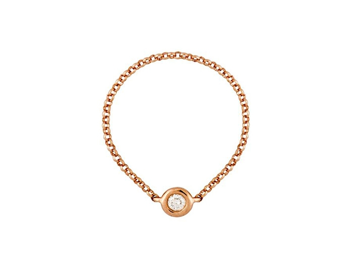 Single diamond chain ring - rose gold