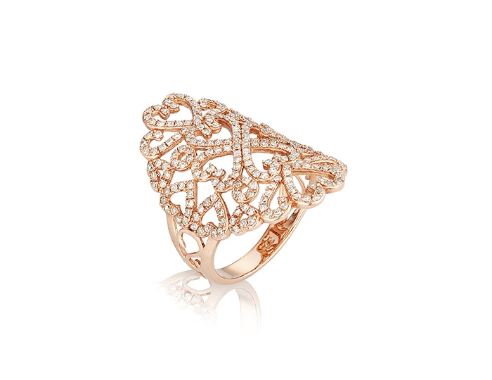 Diamond filagree ring rose gold