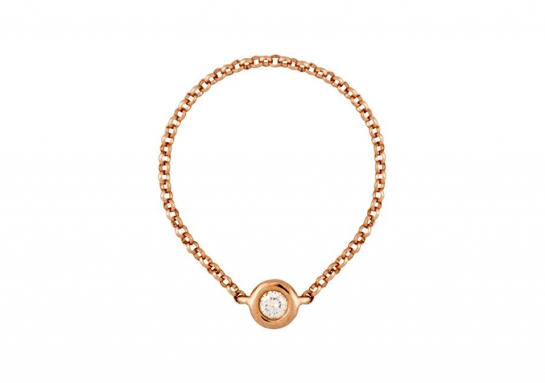 Rose gold diamond chain ring