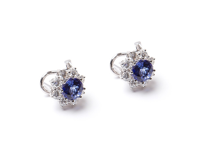 AAA Tanzanite and diamond earrings