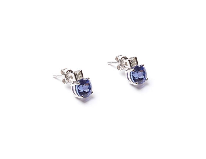AAA Tanzanite and diamond studs