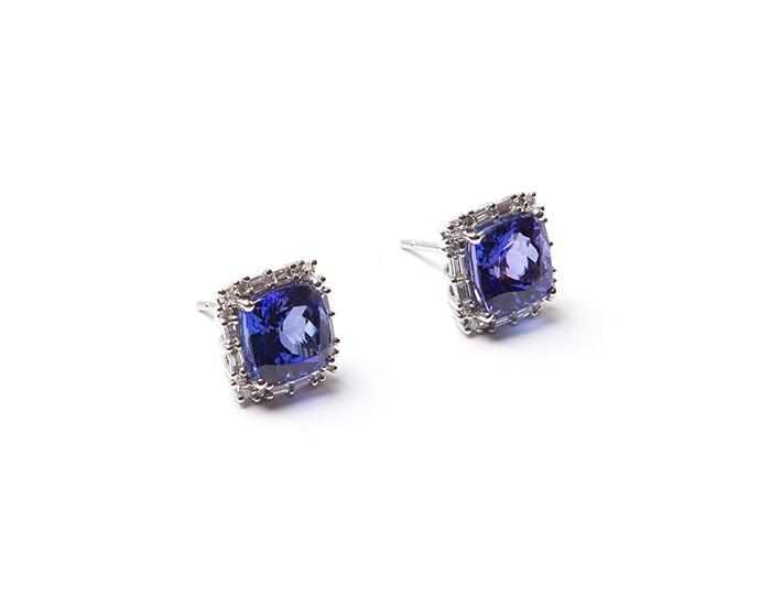 AAA Tanzanite cushion and diamond baguette earrings