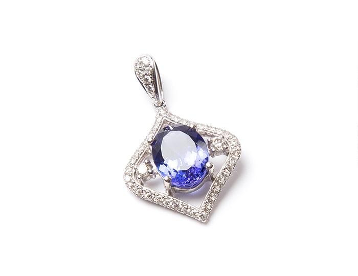 AAA Tanzanite and diamond pendant