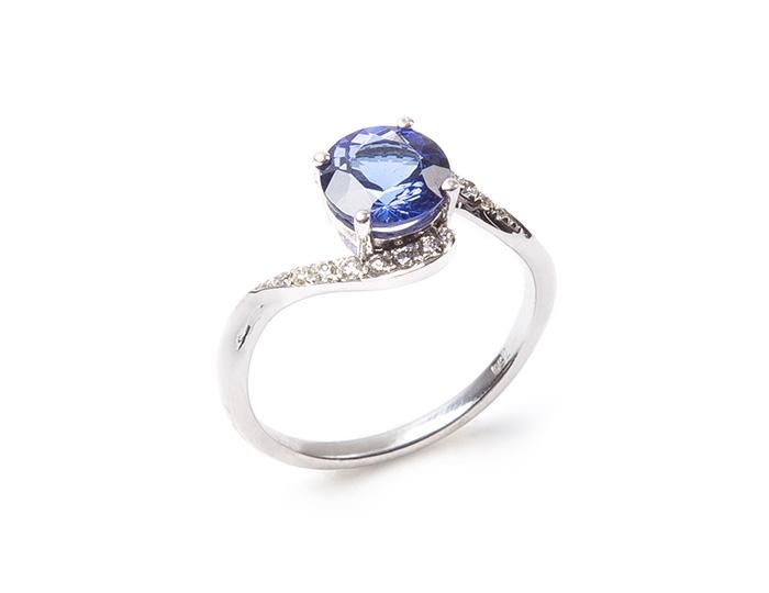 AAA Tanzanite and diamond swirl ring
