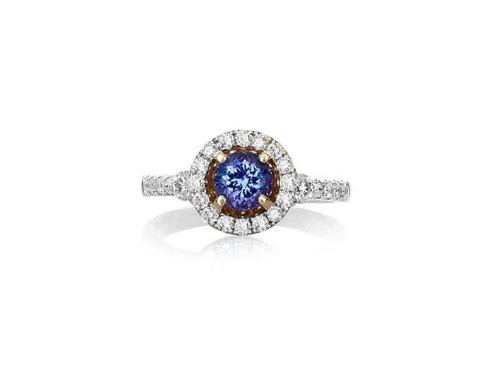 AAA Tanzanite and diamond halo ring