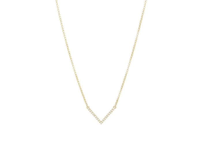 Diamond V necklace - yellow gold