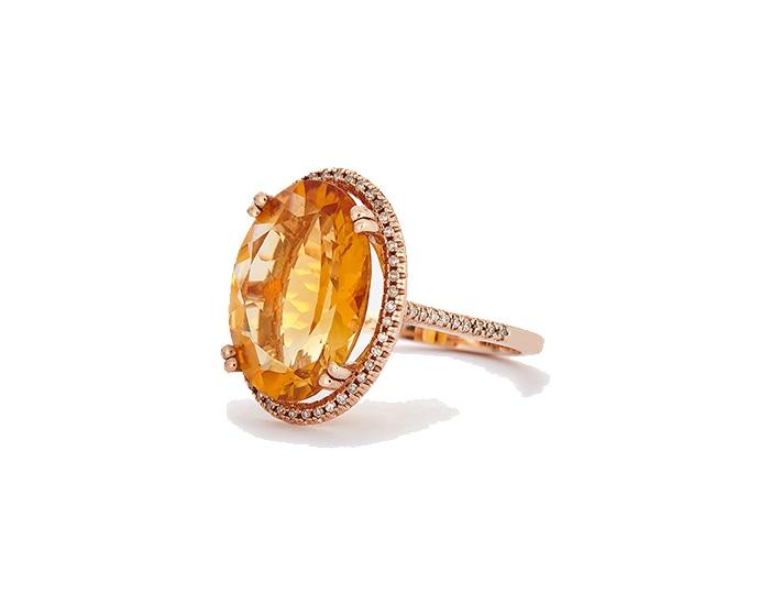 Citrine and diamond dress ring