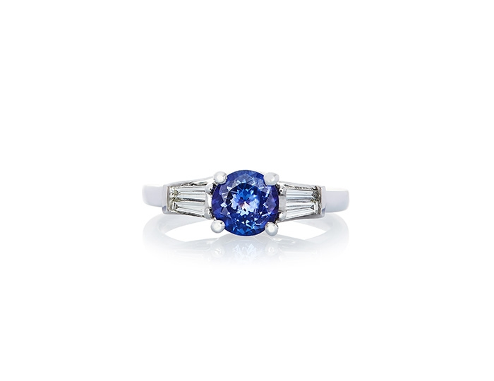 AAA Tanzanite and diamond baguette ring